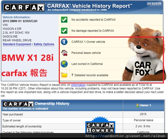BMW X1 CARFAX報告