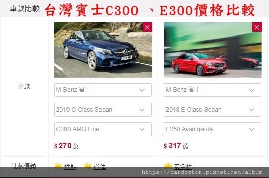台灣賓士C300 、E300價格比較