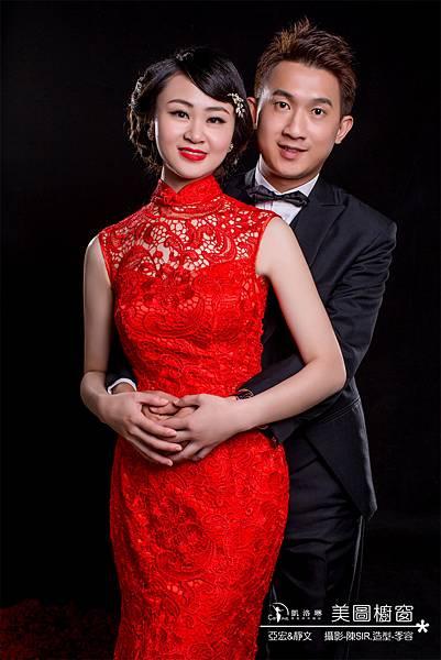 亞宏&靜文-蕾絲復古大紅禮服
