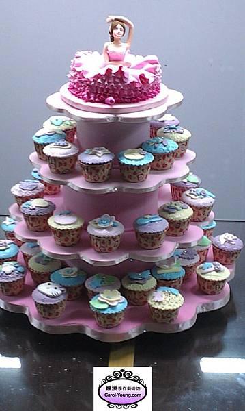 客製粉紅芭蕾舞者杯子生日蛋糕