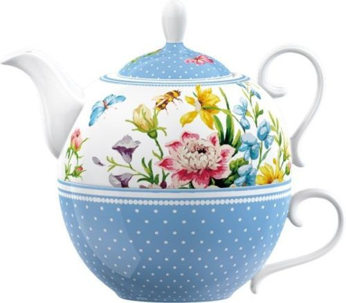 Katie Alice ENGLISH GARDEN TEA FOR ONE - Teapot + Cup Set Porcelain Blue FLOWERS.JPG