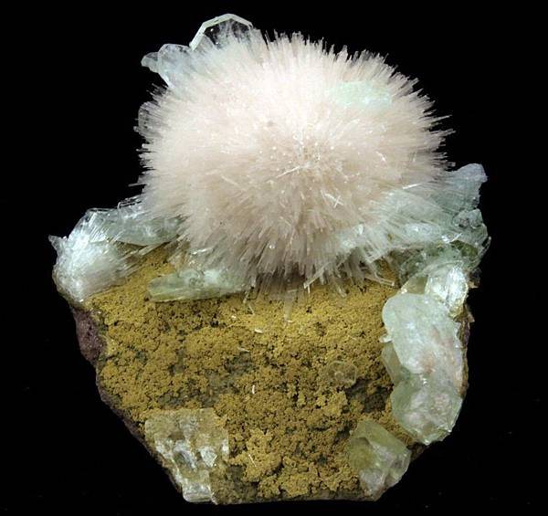 ENTHRALLING SPRAY OF SCOLECITE WITH LIGHT GREEN APOPHYLLITE # 3800.jpg