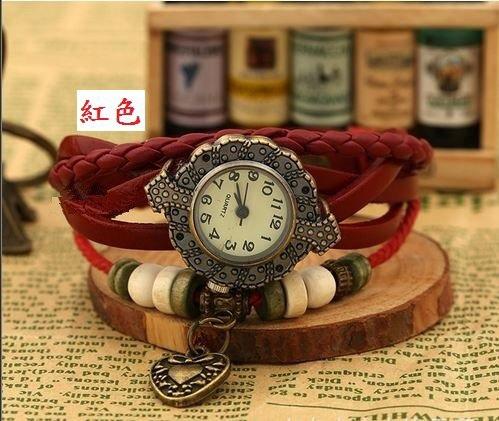 朵貓貓✰爆款手工編織韓國時尚手鏈錶 復古錶 女錶 真皮手錶 學生手鍊表 龐克錶(愛心)PK-S0062-現貨