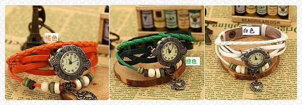 朵貓貓✰爆款手工編織韓國時尚手鏈錶 復古錶 女錶 真皮手錶 學生手鍊表 龐克錶(愛心)PK-S0062-現貨-2