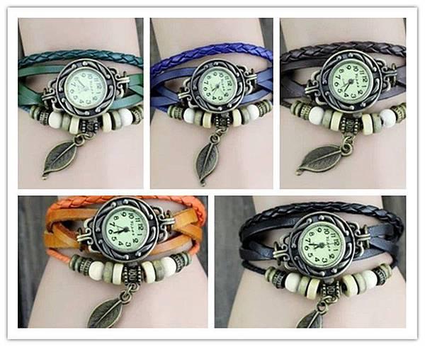 朵貓貓✰爆款手工編織韓國時尚手鏈錶 復古錶 女錶 真皮手錶 學生手鍊表 龐克錶(葉片)PK-S013-現貨3
