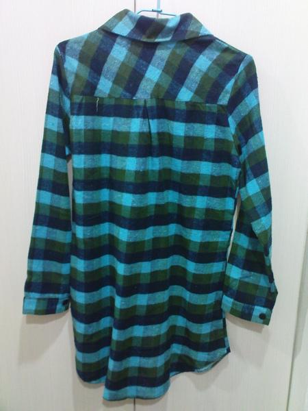 長版藍綠襯衫-厚質(背)