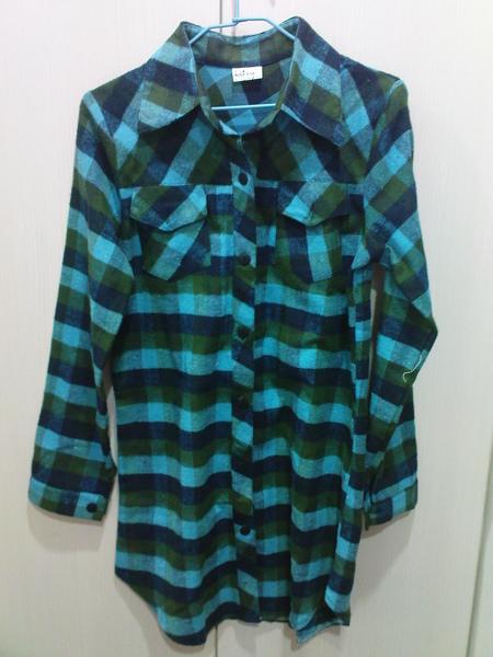 長版藍綠襯衫-厚質