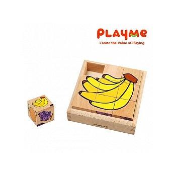 T4-05.水果派對- 木製立體積木拼圖