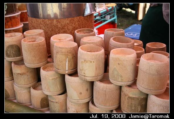 賣剉冰跟咖啡的竹筒杯