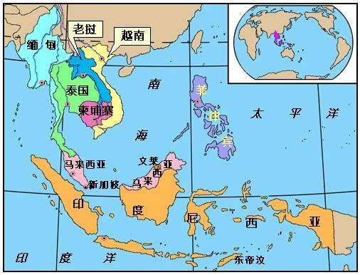 東南亞國家地圖