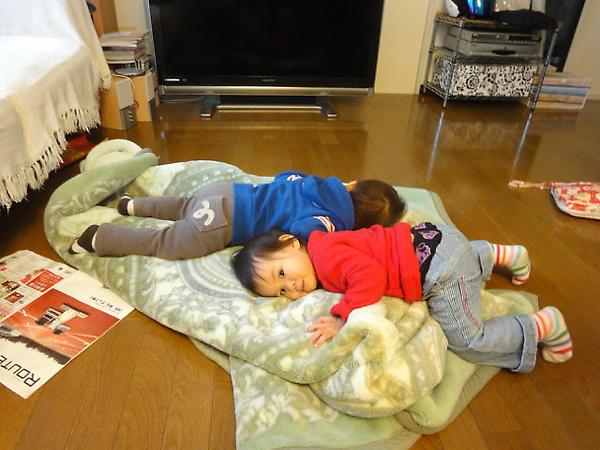 明明很累,兩隻都硬撐著不肯睡
