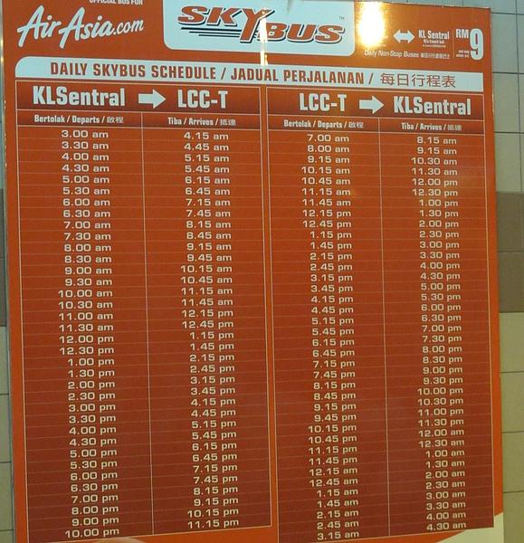 SKYBUS往返LCCT-KL Sentral時間表