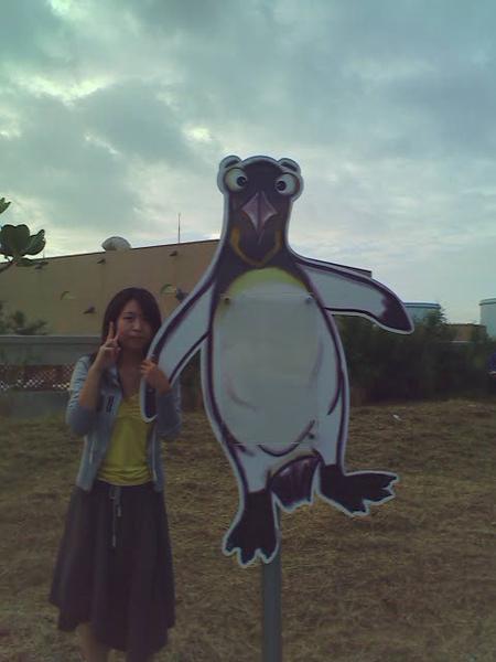 不能進去海生館玩><  只好跟國王企鵝照一下