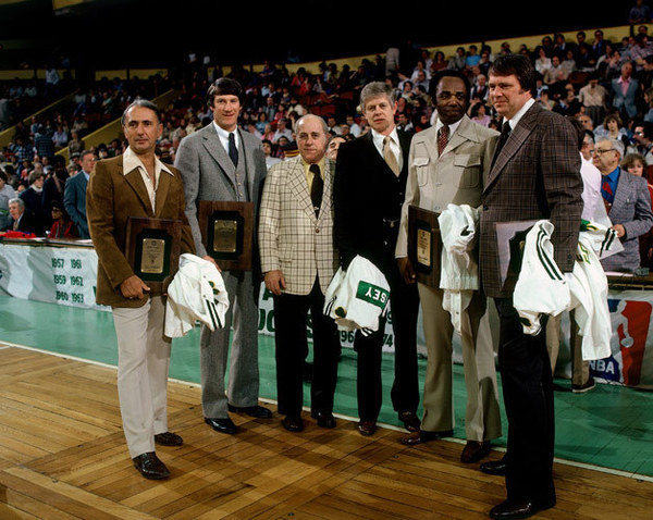 Bob Cousy, John Havlicek, Red Auerbach, Frank Ramsey, Sam Jones, Tom Heinsoh