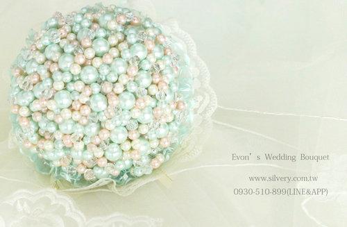 Evon老師手作珠寶捧花訂製/教學(另售DIY材料包)-傾城之戀(Tiffany 藍)