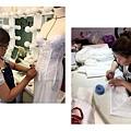 婚紗公司老闆娘,和飾品設計師+造型美睫師,認真的學習製作白紗,禮服