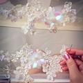 #高級訂製刺繡縫珠課程 一針一線,手工拼组米珠藤蔓和層層疊疊的花葉,閃著靈性的光澤,散發出美麗的生命感~