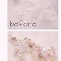 蕾絲也要來造型,看看before和after~ 運用縫珠'亮片,也可以幫蕾絲改造成不同的風格! #縫珠刺繡課程
