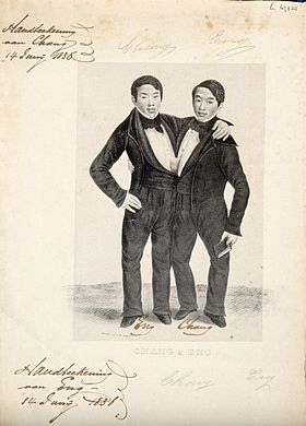 Chang_and_Eng_the_Siamese_twins,_one_holding_a_book._Lithograph_Wellcome_V0007364