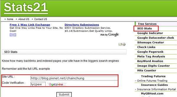 輸入網站的 URL 及驗證碼