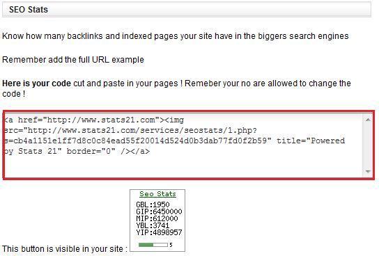 可內嵌於網頁的 SEO stat CODE