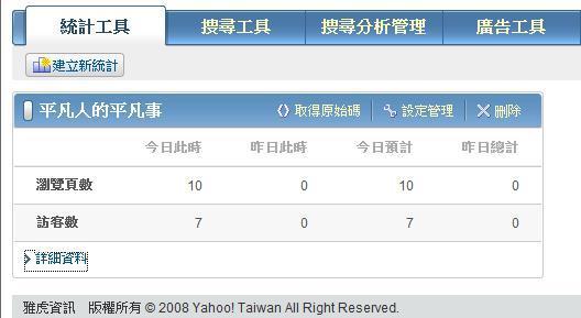 Yahoo站長工具-統計工具報表