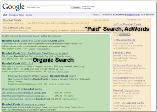 "Search engine optimization affects only organic search results, not paid or ""sponsored"" results, such as Google AdWords"