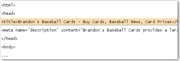 The title of the homepage for our baseball card site, which lists the business name and three
