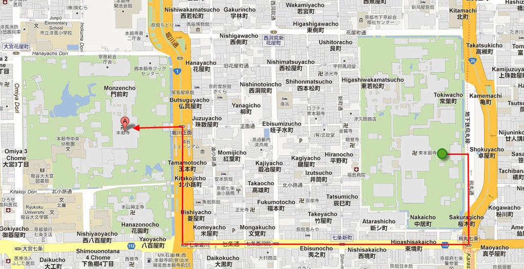 西本願寺地圖