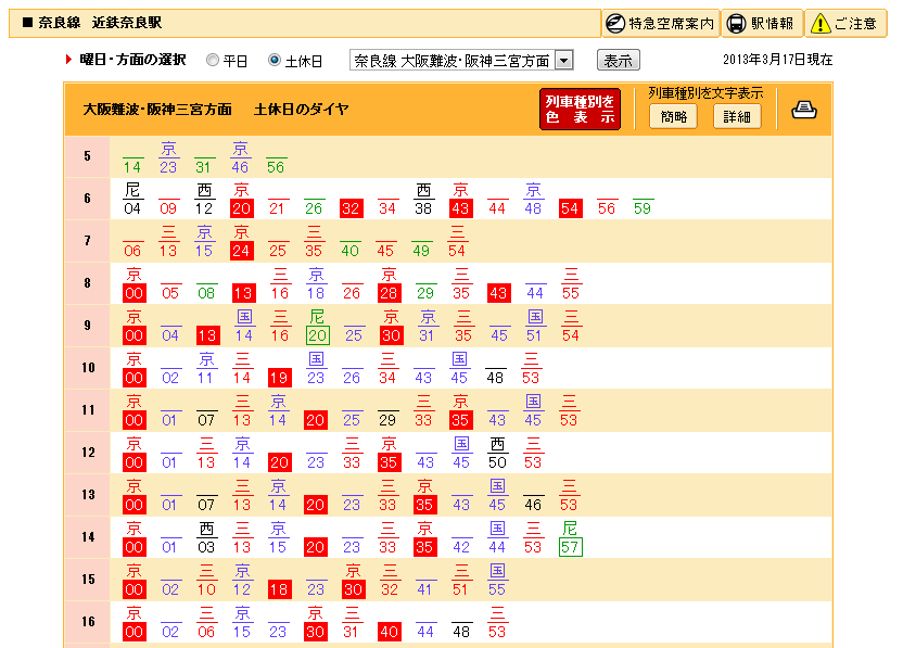 近鉄奈良站時刻表