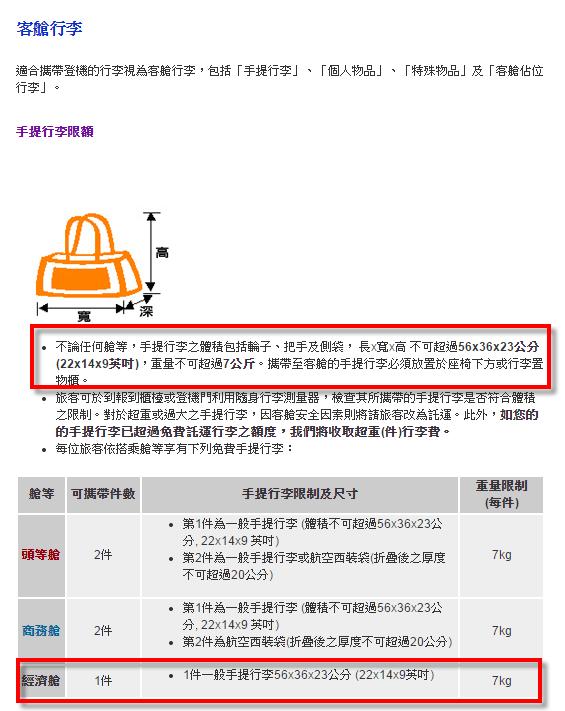 華航行李限制