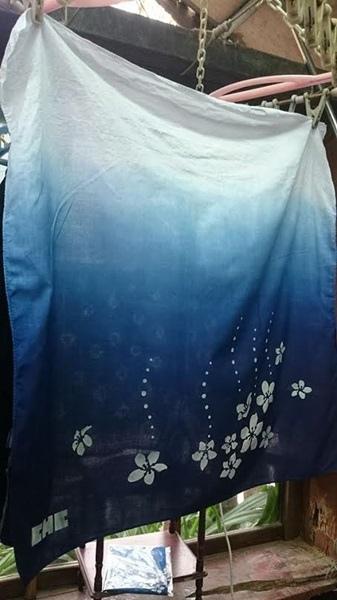 卓也小屋手作藍染方巾5