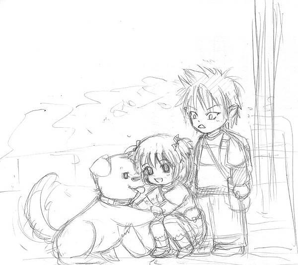 4歲第一次約會的時候, 一起偷偷跑去家附近的公園摸白色大狗狗