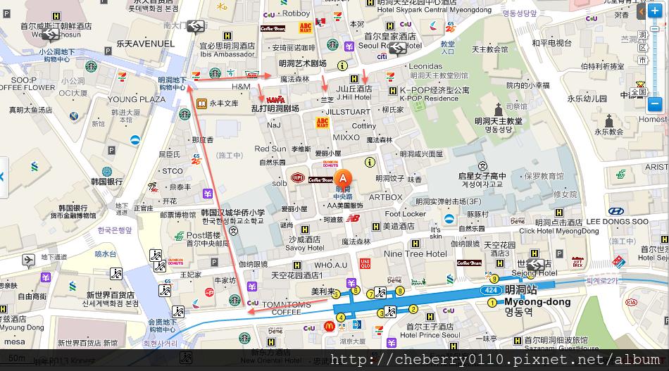 明 洞 地圖 中文 版 2018