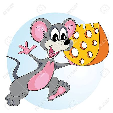 13881272-Mouse-comes-with-cheese-in-his-hand-and-smiling-Stock-Vector-cartoon