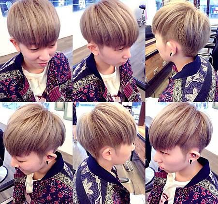 台北東區Rainbow Hair 設計師Cheetah作品----流行時尚髮型,東區剪髮染髮,女生短髮,tomboy,不連接,亞麻灰色(帶亞麻綠),淺特殊色,設計染色~~