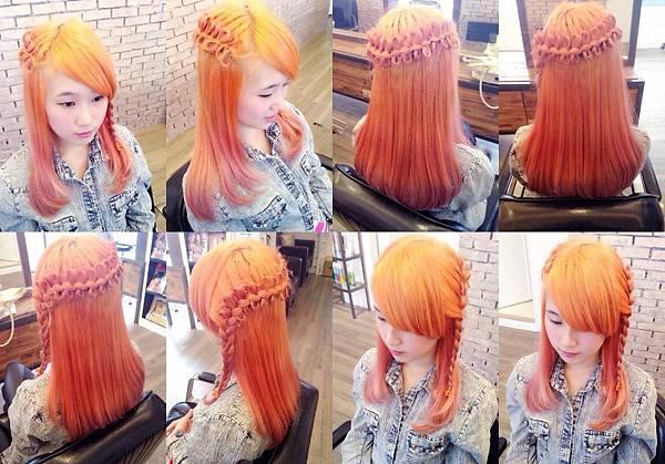 台北東區Rainbow Hair 設計師Cheetah作品----流行時尚髮型,東區剪髮,東區時尚造型,女生編髮造型,甜美女孩,三股加編小變化,公主頭可愛編髮