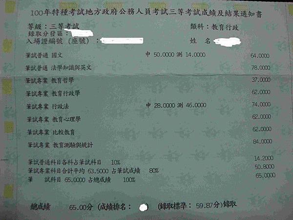 100年教育行政三等特考金榜題名成績單.jpg