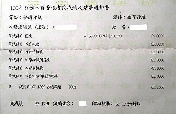 100年教育行政普考金榜題名成績單.jpg