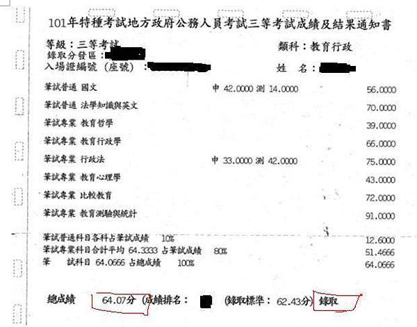 101年教育行政三等特考金榜題名成績單2.jpg