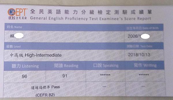 小六生考過英檢中高級初試