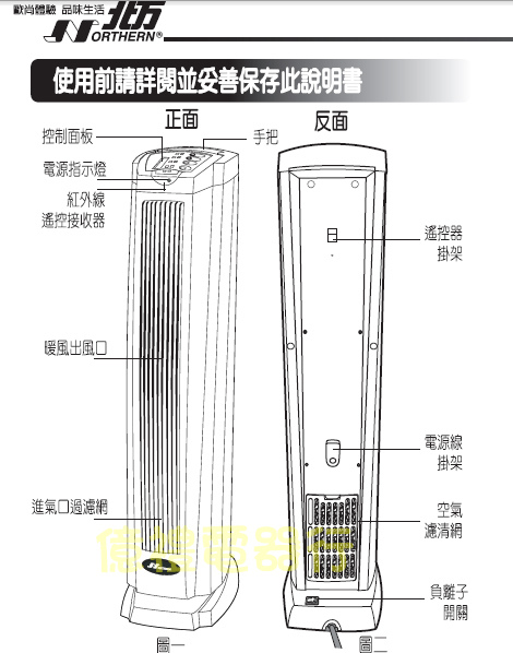 北方陶瓷電暖PTC-8680公司原版構造圖(公)