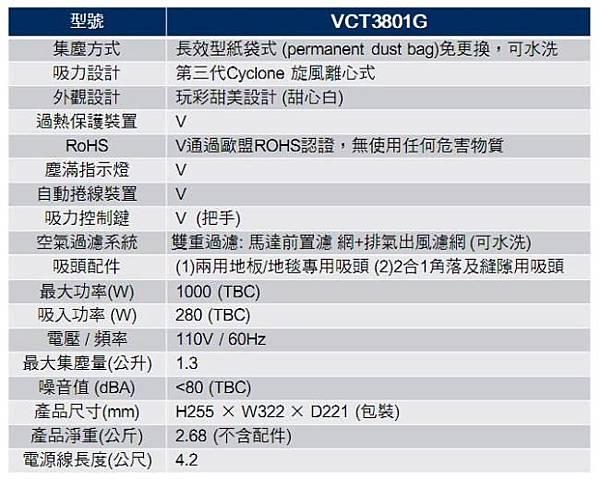 VCT-3801G規格