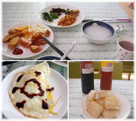 豐盛的早餐, 下面的蛋和蘿蔔糕是老板娘的莎米蘇唷:P