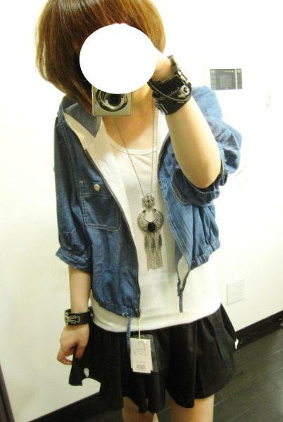 shin*2010夏折扣-NICE CLAUP連帽口袋五分袖小外套(深藍)-2