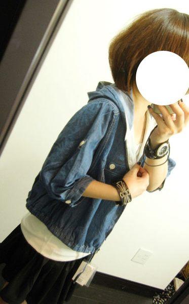 shin*2010夏折扣-NICE CLAUP連帽口袋五分袖小外套(深藍)-3