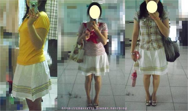 [實穿照] 白色圖騰裙