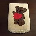 愛心熊手機袋
