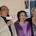 左起:台中市長胡志強、台中市長夫人邵曉鈴、柯奐如(台北首映)