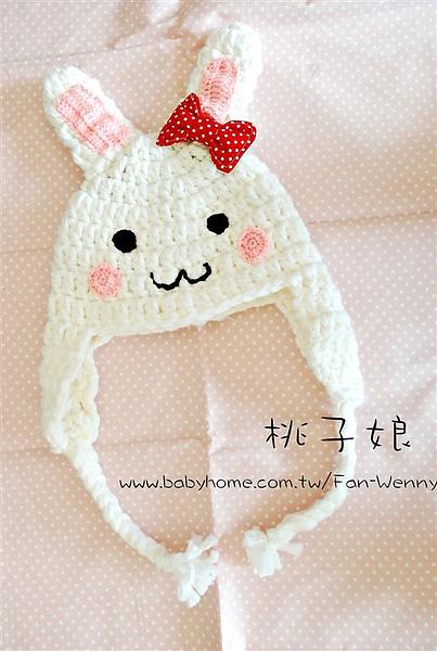 勾針兔子帽
